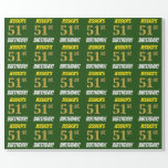 """[ Thumbnail: Green, Faux/Imitation Gold, """"51st Birthday"""" Wrapping Paper ]"""