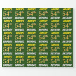 """[ Thumbnail: Green, Faux/Imitation Gold, """"54th Birthday"""" Wrapping Paper ]"""