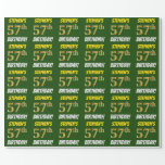 """[ Thumbnail: Green, Faux/Imitation Gold, """"57th Birthday"""" Wrapping Paper ]"""