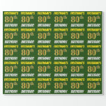 """[ Thumbnail: Green, Faux/Imitation Gold, """"80th Birthday"""" Wrapping Paper ]"""