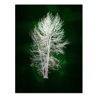 Green faux-metallic tree postcard