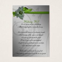 Green FAUX ribbon vintage brooch Wedding Business Card