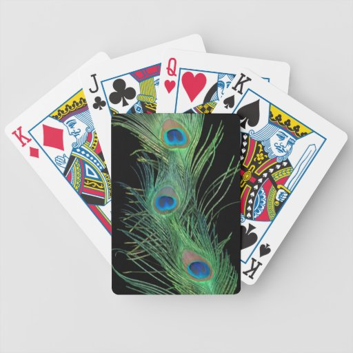 Green Feathers with Black Bicycle Playing Cards