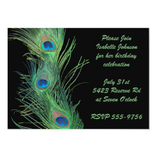 Green Feathers with Black Birthday 5x7 Paper Invitation Card