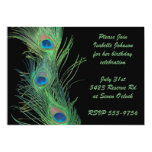 Green Feathers with Black Birthday Personalized Announcements