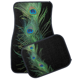 Green Feathers with Black Car Floor Mat