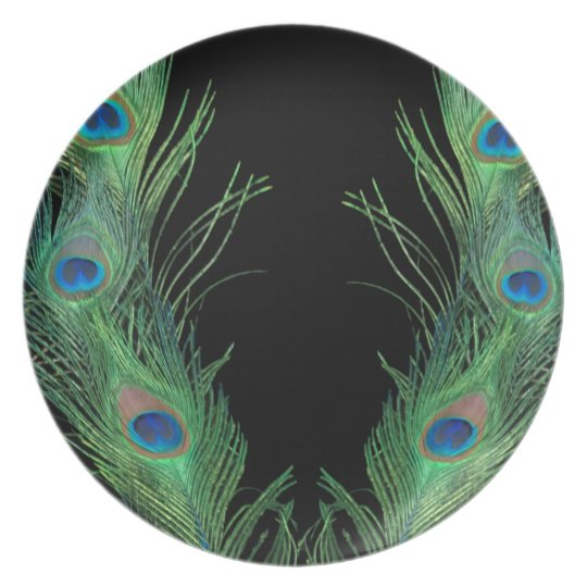 Green Feathers with Black Dinner Plate