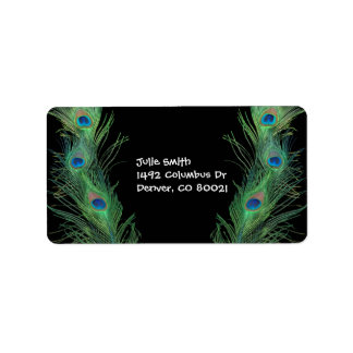 Green Feathers with Black Personalized Address Labels