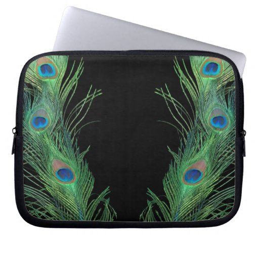 Green Feathers with Black Laptop Computer Sleeves