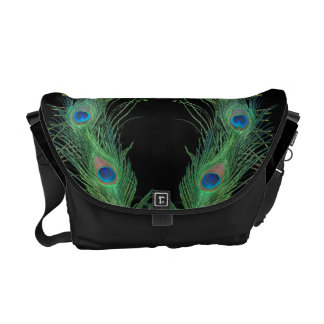Green Feathers with Black Courier Bag