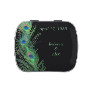 Green Feathers with Black Wedding Candy Tins