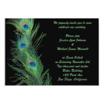 Green Feathers with Black Wedding 5x7 Paper Invitation Card