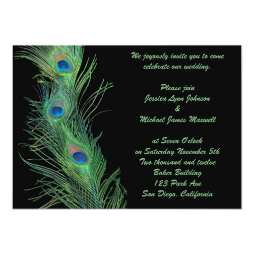 """Green Feathers with Black Wedding 5"""" X 7"""" Invitation Card"""