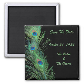 Green Feathers with Black Wedding Save the Date 2 Inch Square Magnet