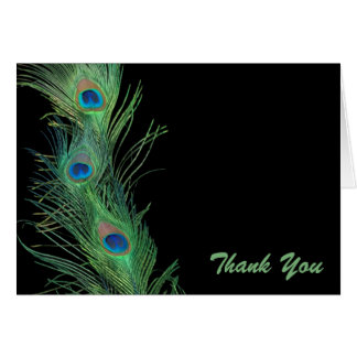 Green Feathers with Black Wedding Thank You Greeting Cards