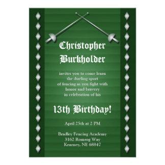 Green Fencing Birthday Party Invitation