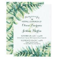 Green Fern Foliage Watercolor Wedding Invitation