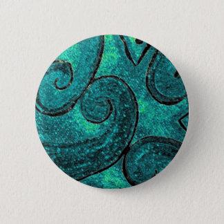 Green fern frond NZ Koru, piko piko or fiddlehead Pinback Button