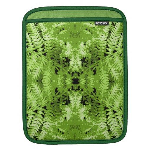 Green Fern Leaves, Digital Art Pattern. Sleeves For iPads