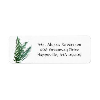 Green Fern Leaves Nature Themed Return Address Label