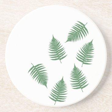 loscrazyavocados Green Fern Lucky Sandstone Coaster