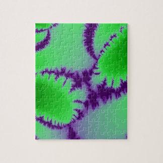 Green Fern Purple Backdrop Jigsaw Puzzle