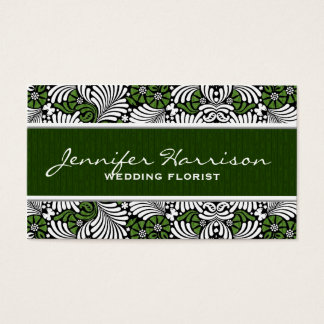 Green Fern Retro Leaf Pattern with White Business Card