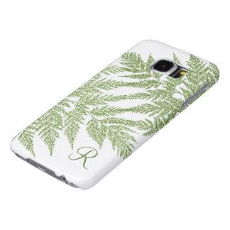 Green Fern Silhouette Monogram Samsung Galaxy S6 Cases