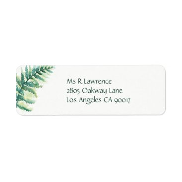 Beach Themed Green Fern Watercolor Label