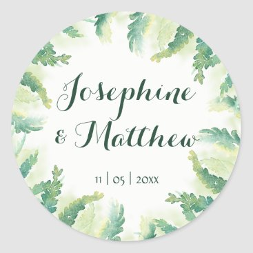 Beach Themed Green Fern Watercolor Personalized Wedding Classic Round Sticker