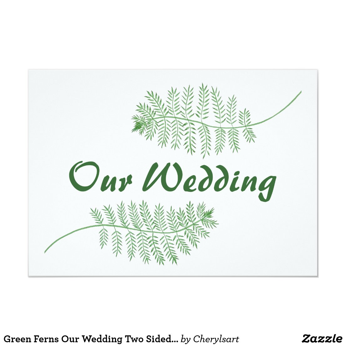 Green Ferns Our Wedding Two Sided Invitations