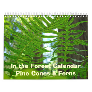 Green Ferns & Pine Cones Calendar Nature Botanical