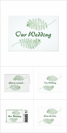 Green Ferns Wedding Invitations Set