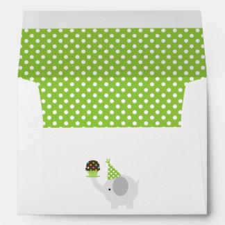 Green Festive Birthday Elephant Envelope