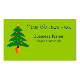 Green Festive Christmas Tree Double-Sided Standard Business Cards (Pack Of 100)