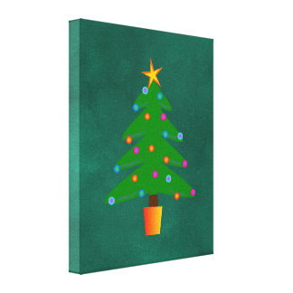 Green Festive Christmas Tree Canvas Print