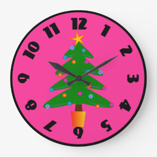 Green Festive Christmas Tree Large Clock