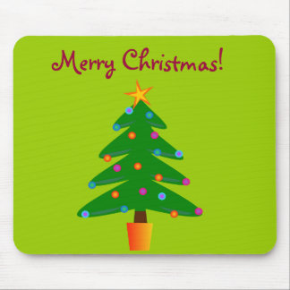 Green Festive Christmas Tree Mouse Pad