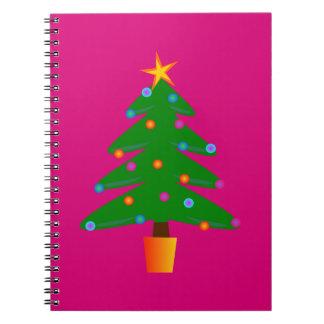 Green Festive Christmas Tree Spiral Notebook