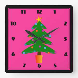 Green Festive Christmas Tree Square Wall Clock
