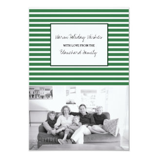 Green Festive Stripes Holiday Photo Card