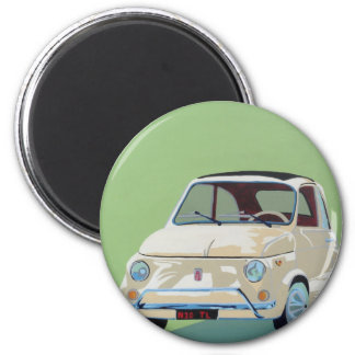 Green Fiat 500 Magnet