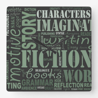 Green Fiction Writer's Word Art Clock