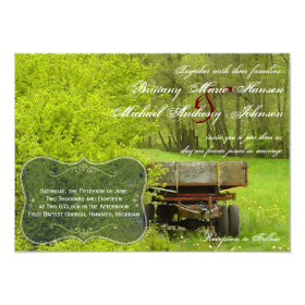 Green Field and Trees Country Wedding Invitations 4.5