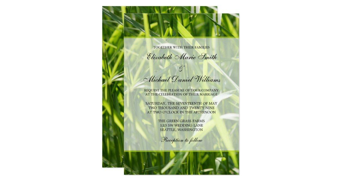 Green Field Grass Outdoor Wedding Card