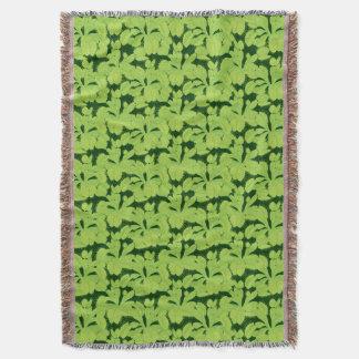 Green Field of Venus Flytrap Pattern Throw Blanket