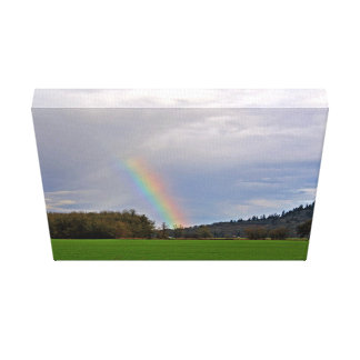 Green field with Rainbow Canvas Print
