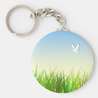 Green field with White dove Keychain