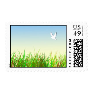 Green field with White dove Postage Stamp