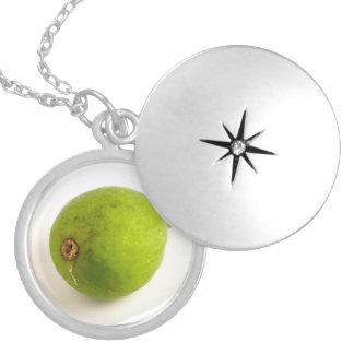 Green Fig Round Locket Necklace